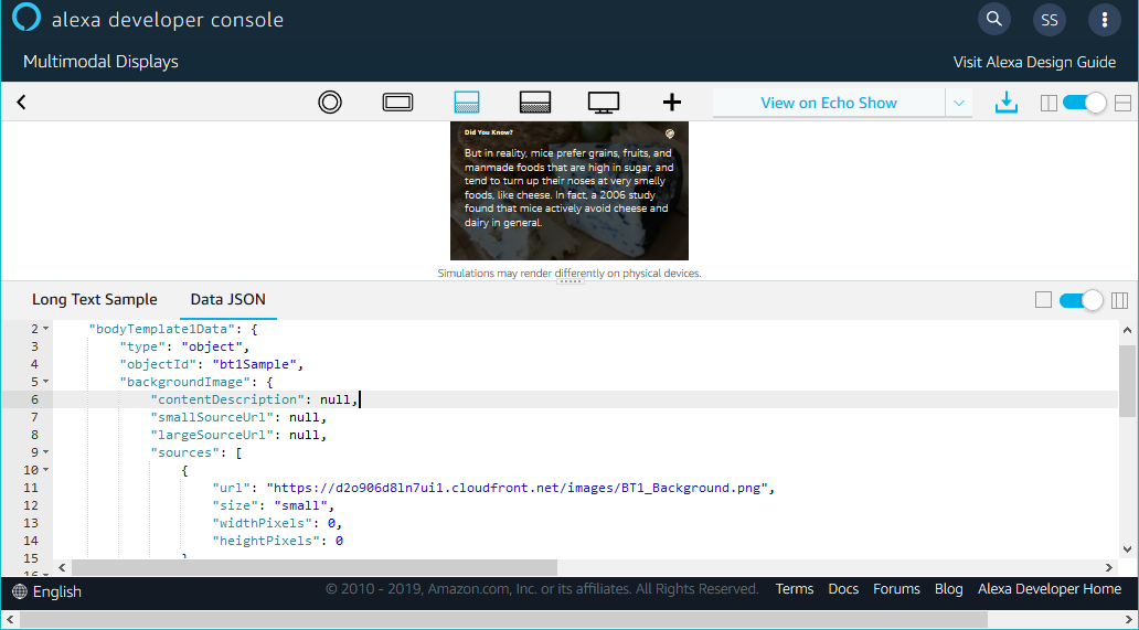 APL Authoring Tool: Data JSON