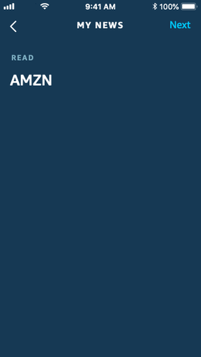 Input screen for Stock quote task, after the user has entered AMZN as the stock symbol. The prompt is no longer shown.