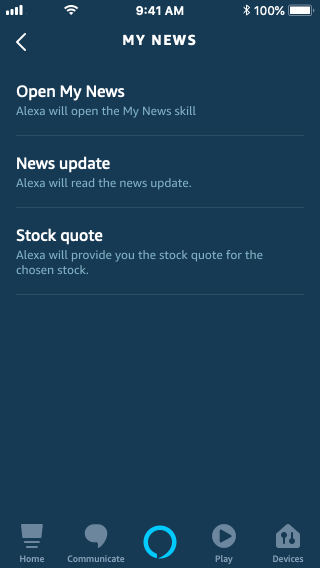 Alexa app task list for My News skill, showing 3 tasks: Open My News, News update, and Stock quote