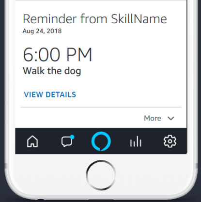 Format for reminder card in the Alexa app