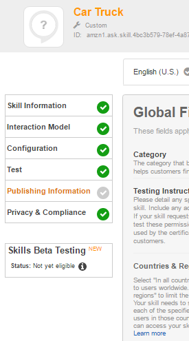 Not yet eligible for skills beta testing