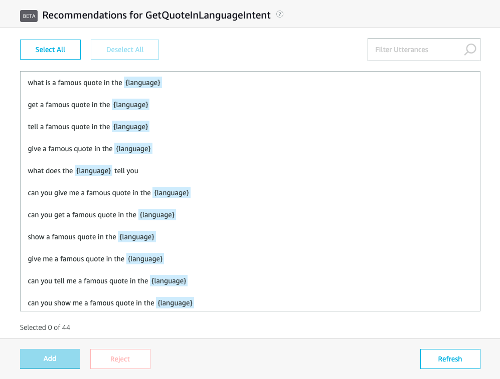 Portion of custom intent pane of developer console, showing sample utterance recommendations