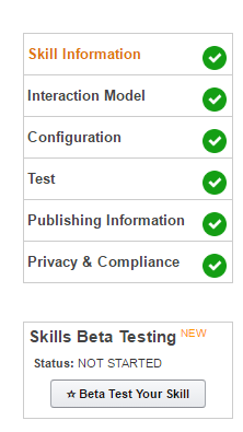 Eligible for skills beta testing