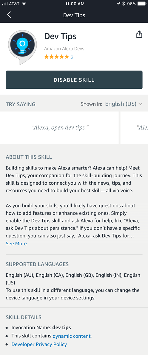 Example of the detail card for a custom skill in the Alexa app