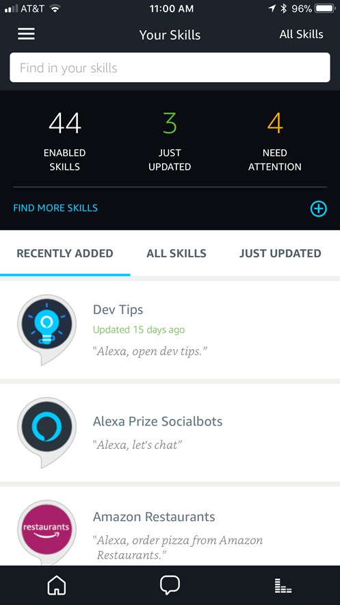 List of skills in the Alexa app