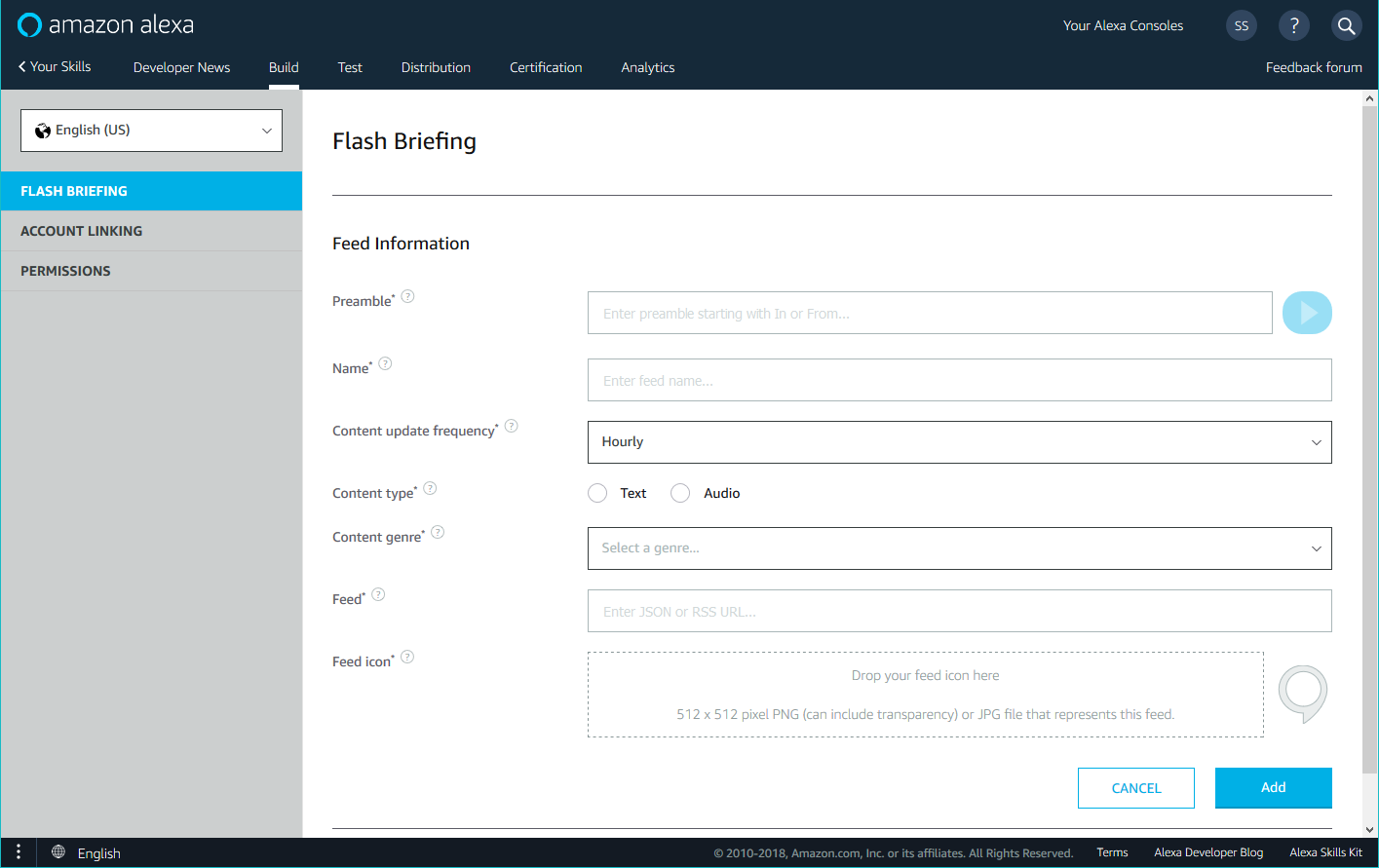 Build page for a flash briefing skill, showing the fields for a new feed