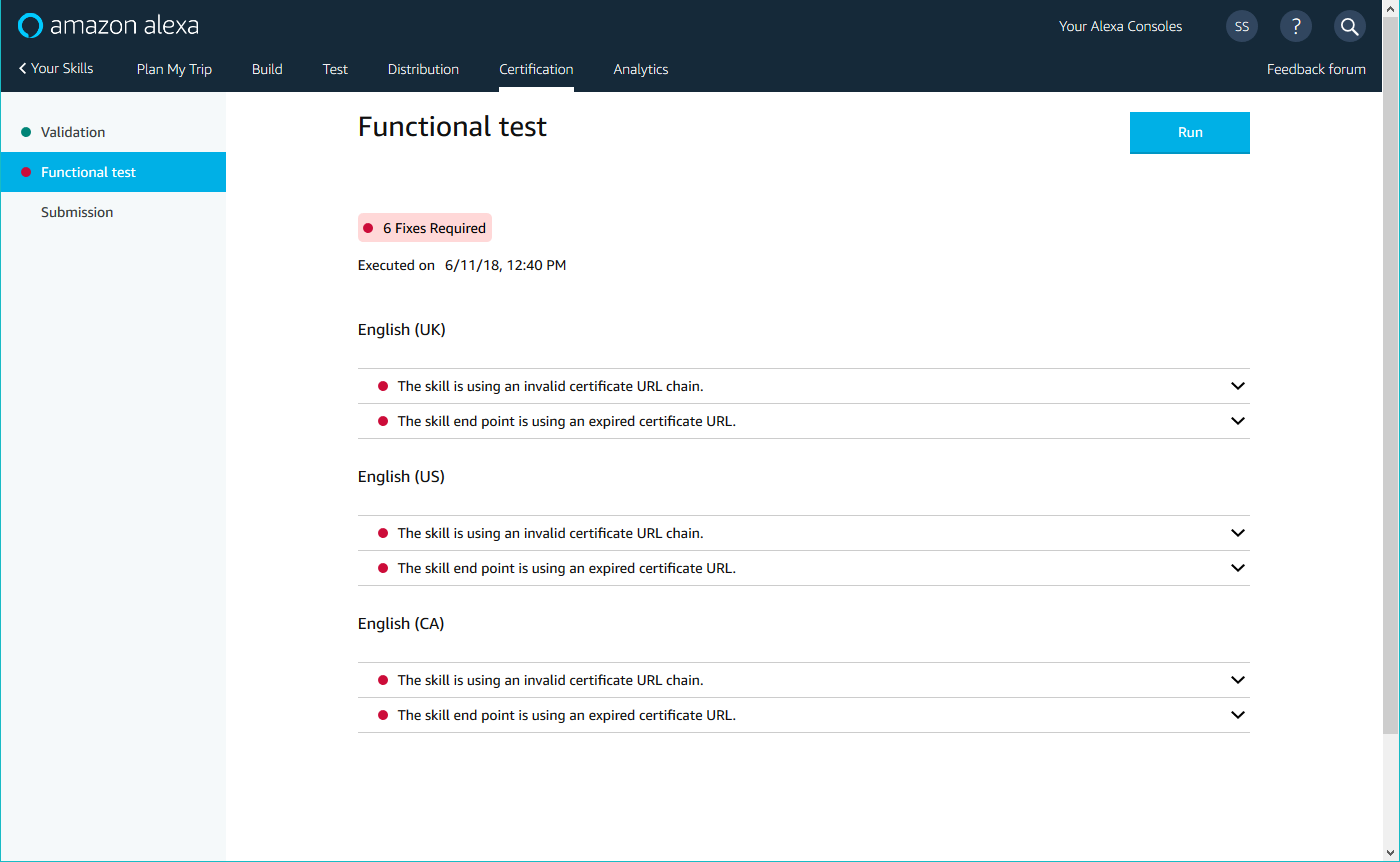 Functional Test section on the Certification page
