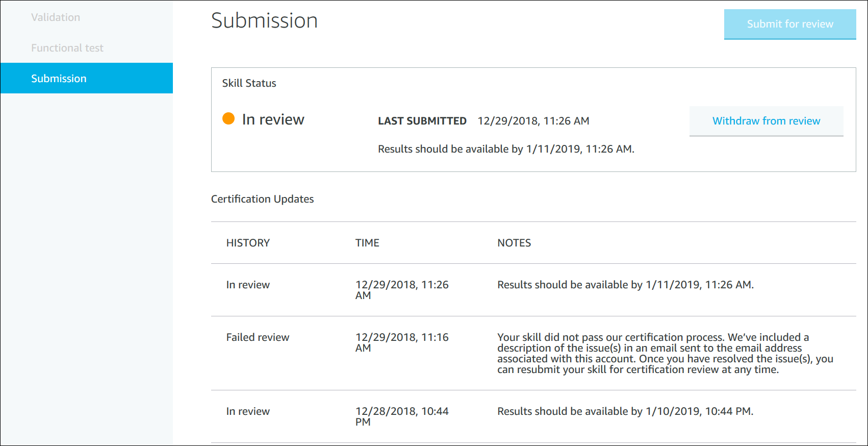 Submission page in the ASK developer console
