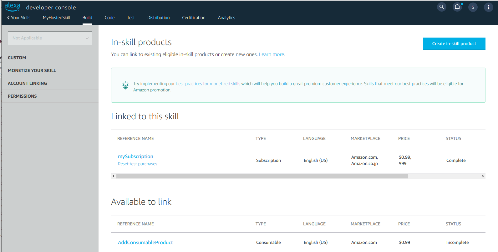 The developer console in-skill products page showing products linked to a skill in the development stage.