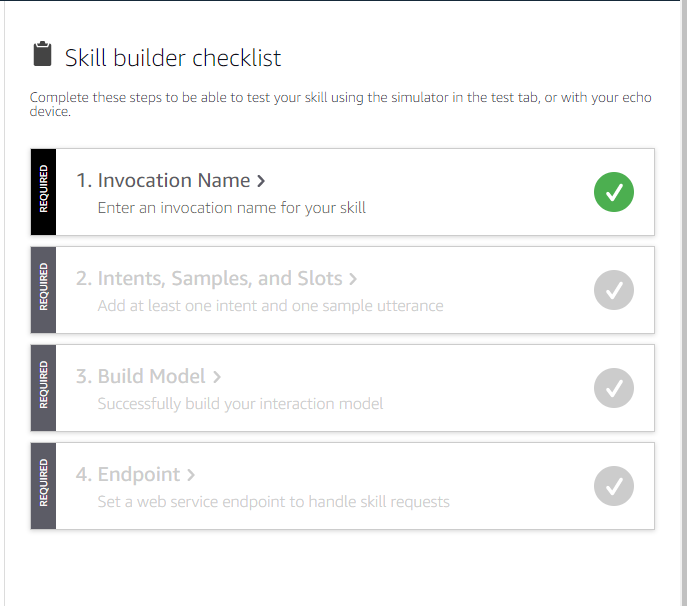 Skill builder checklist displayed on the Build page