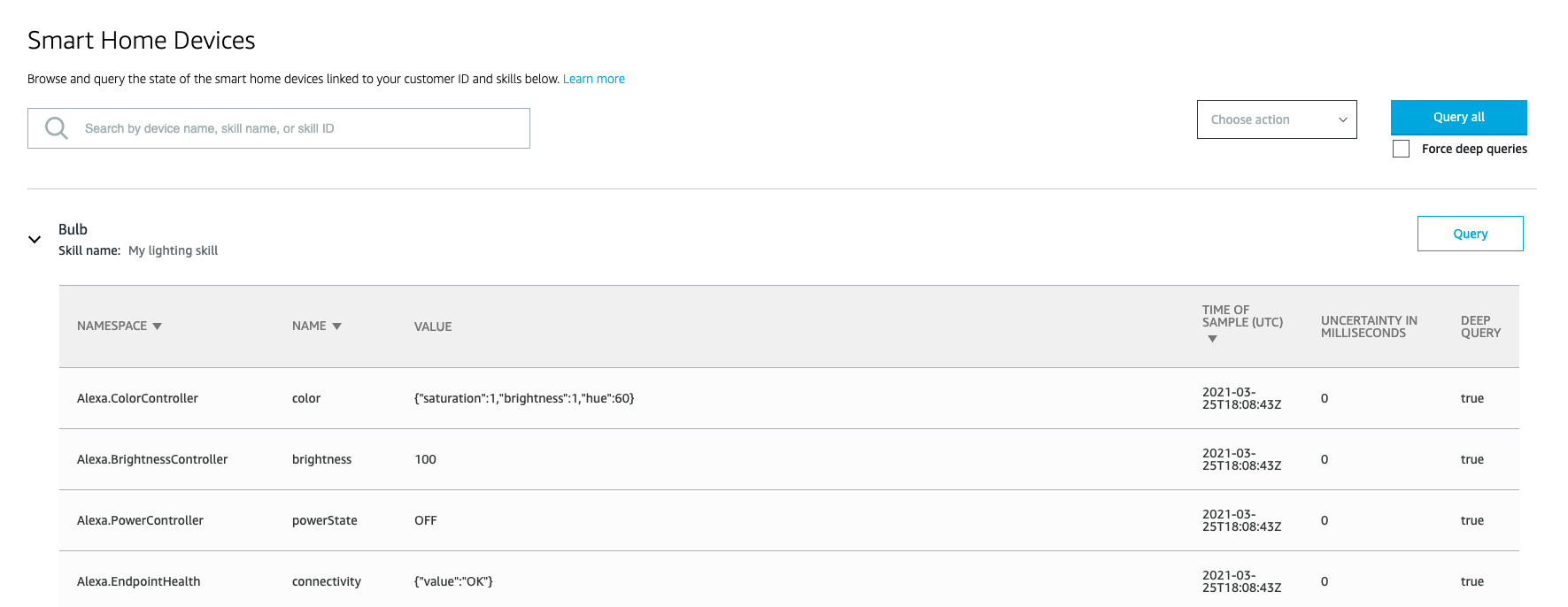 The Smart Home Devices page in the Alexa developer console