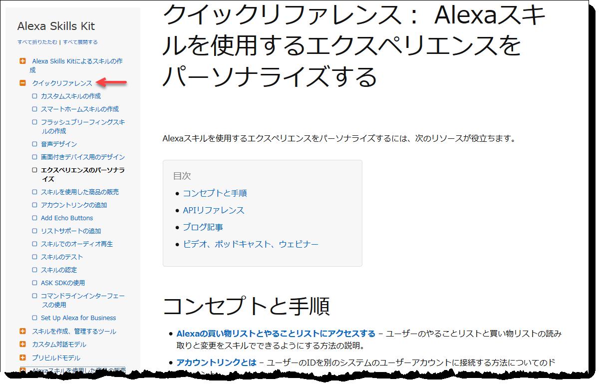 Alexa Skills Kit技術資料のクイックリファレンスページのスクリーンショット
