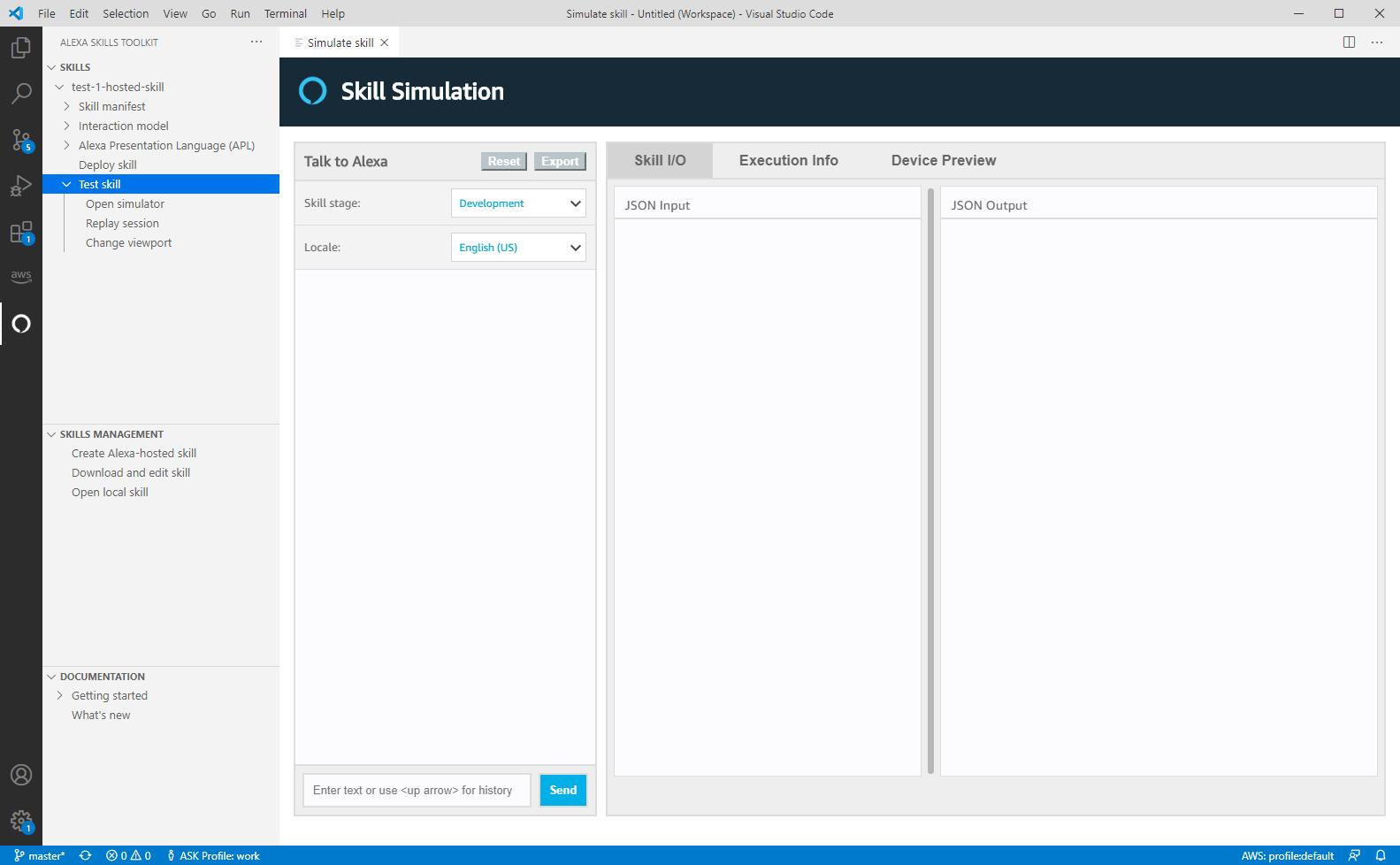 VS Code IDEのSkill Simulationページ