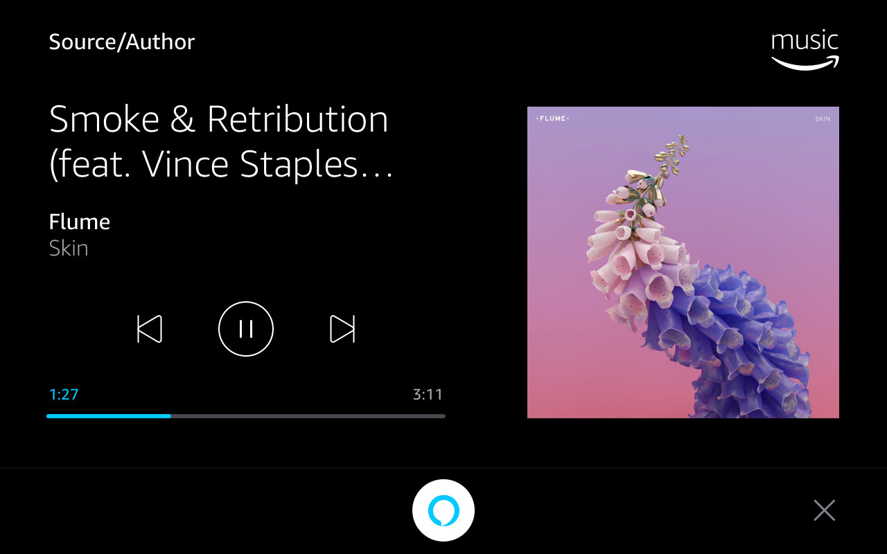 Display Cards for Tablet: NowPlaying Amazon Music