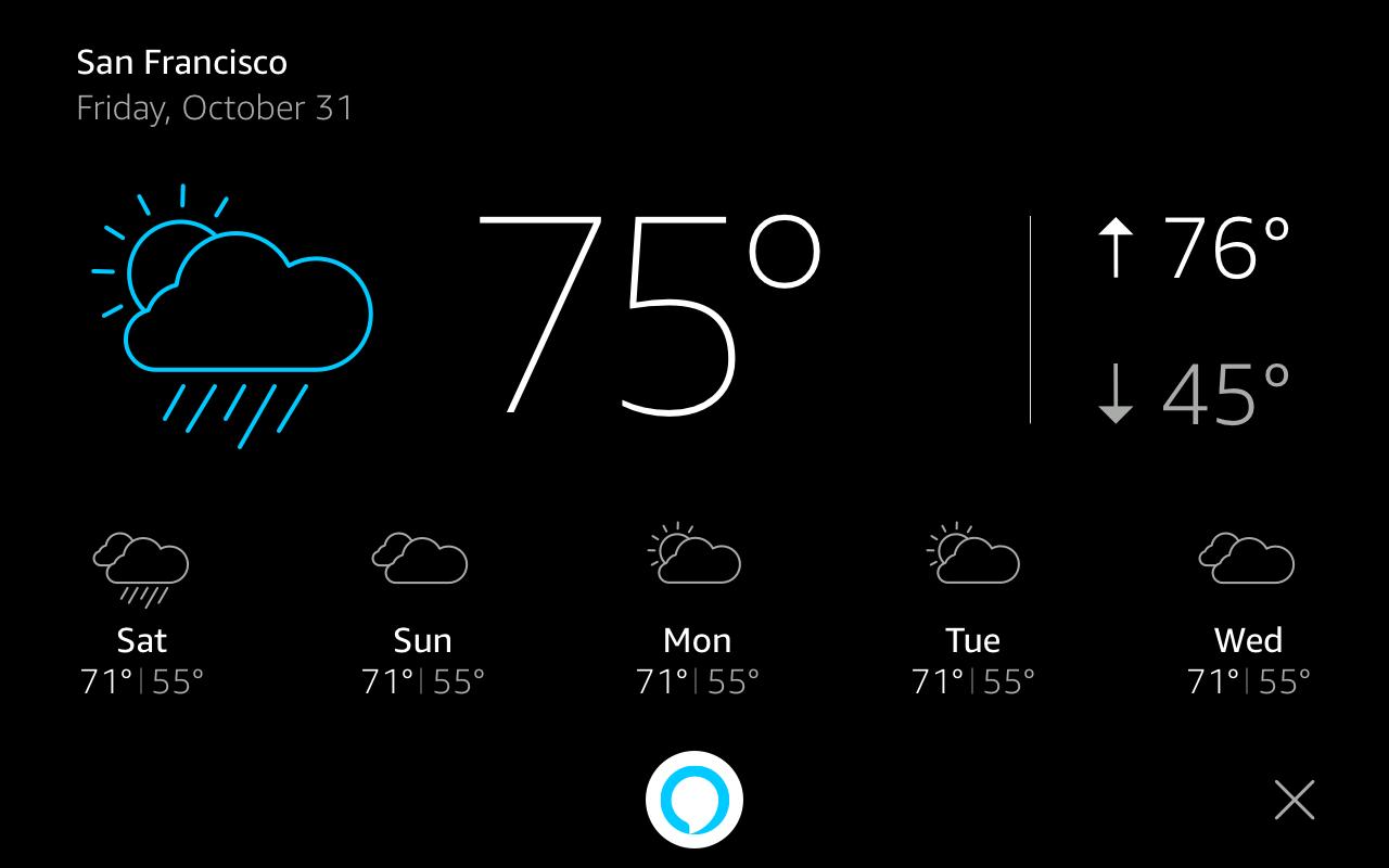 おやすみモードの表示カード: WeatherTemplate