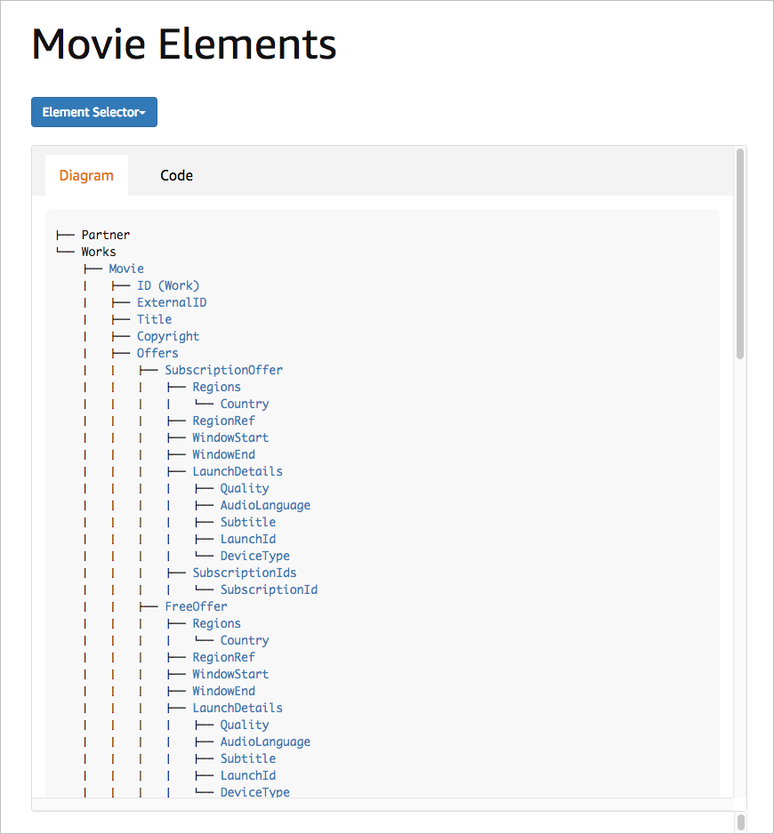 Web page with filtered elements
