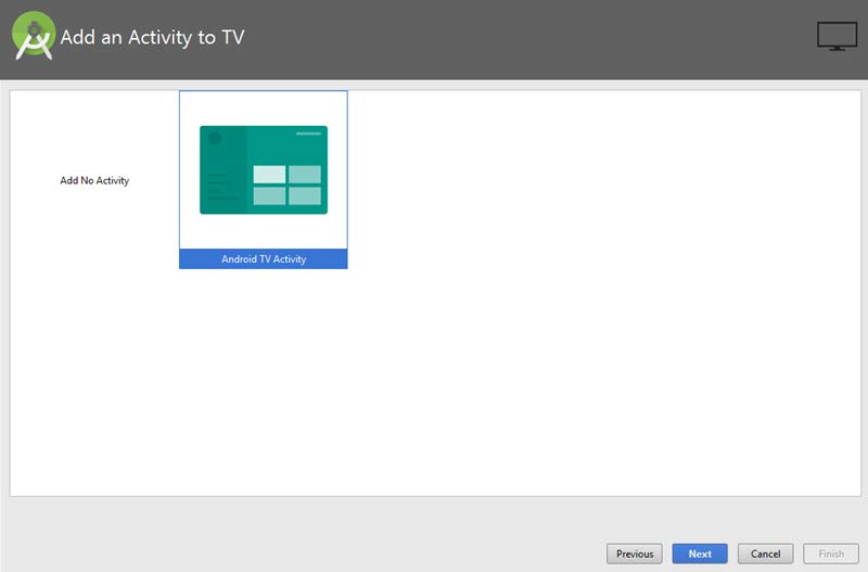 Select an Android TV Activity.