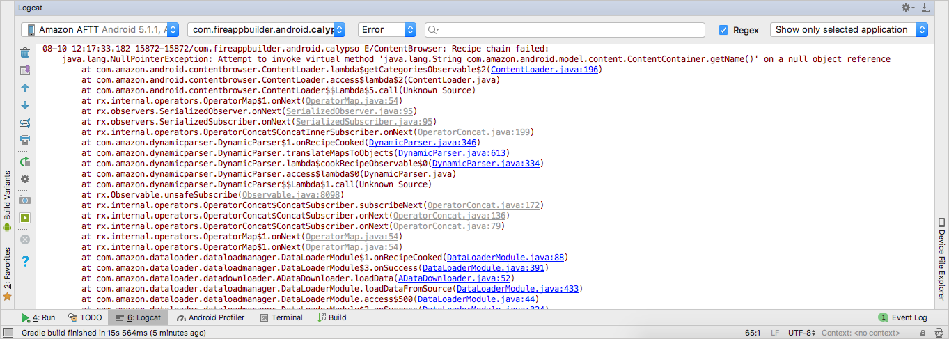 The Logcat window in Fire App Builder with the right filters selected
