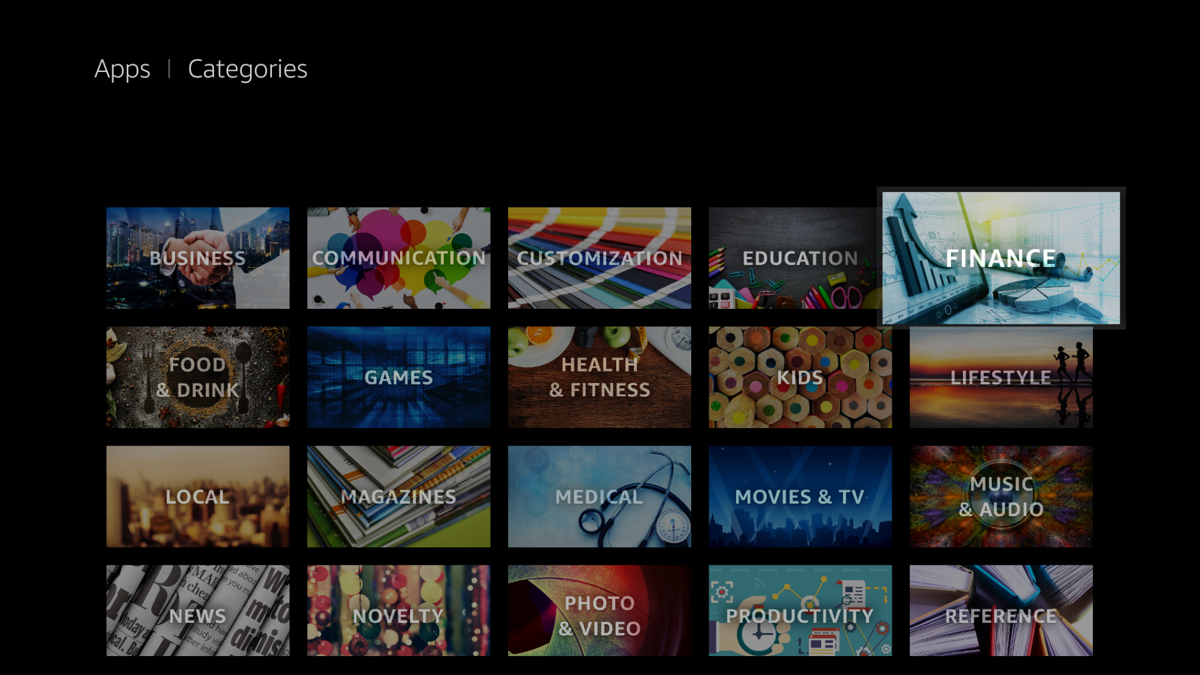 Categories in Fire TV UI