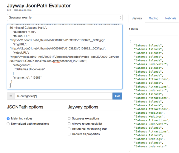 JsonPath Evaluator example