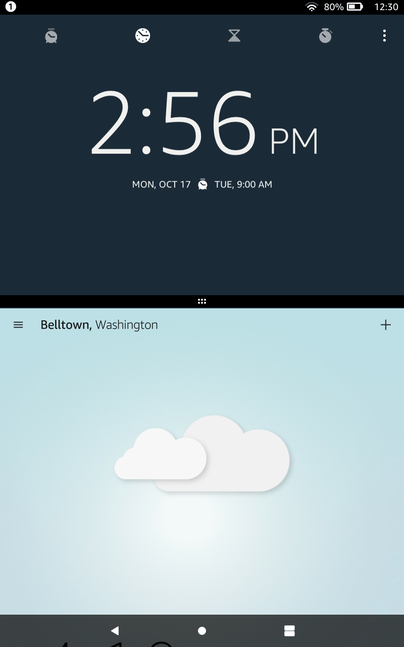 Viewing the time, and checking the weather, in split-screen mode