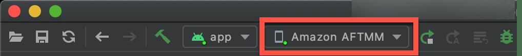 Android Studioがデバイスに接続されている場合の表示内容