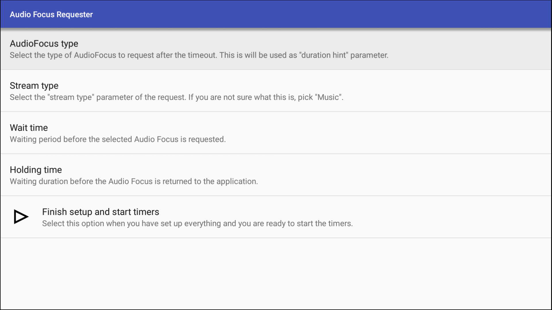 Audio Focus Requester tool's UI