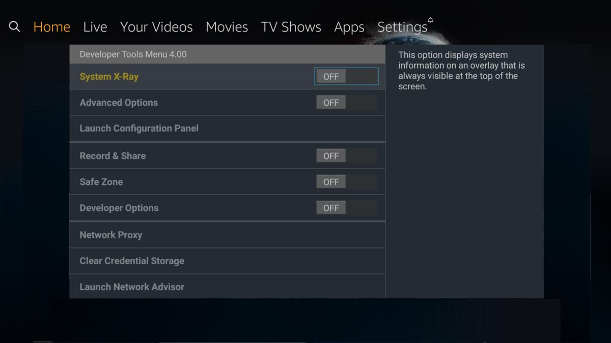 Developer Tools Menu (Fire TV) | Amazon Fire TV