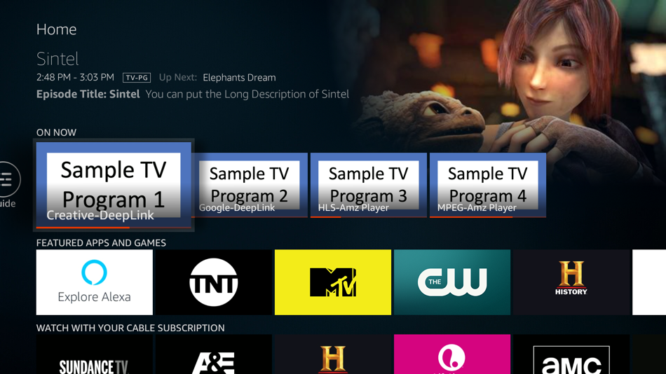 Fire TV 'On Now' row