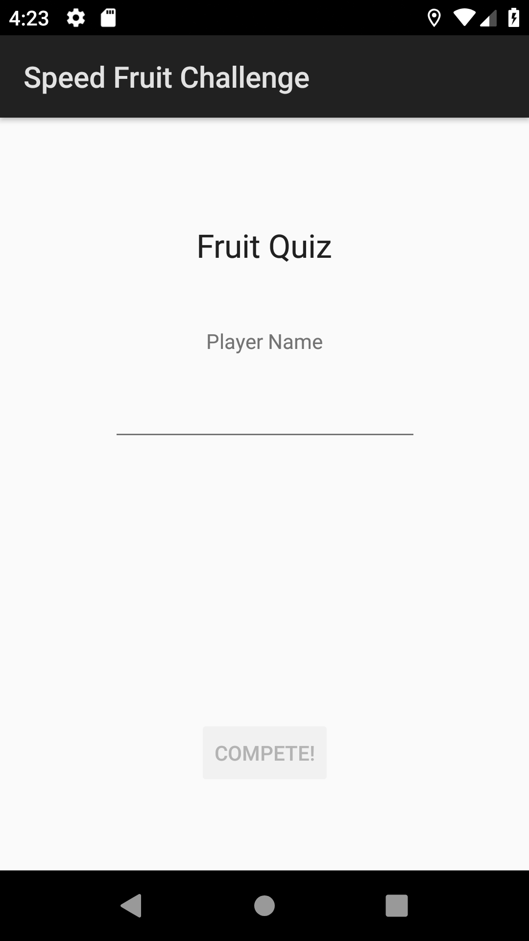 Fruit Quiz Splash Screen