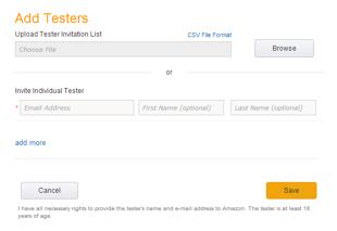 Eメールリストのアップロード、またはテスターの個別追加