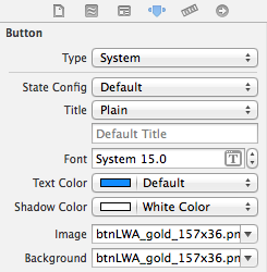 xcode button attributes