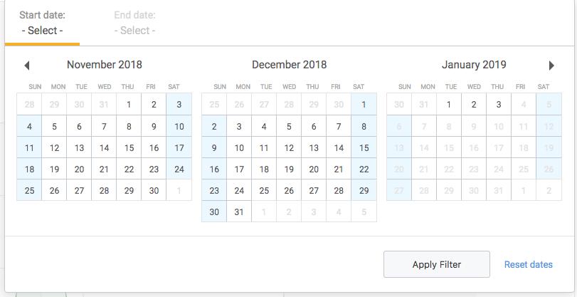 Custom date range dialog box