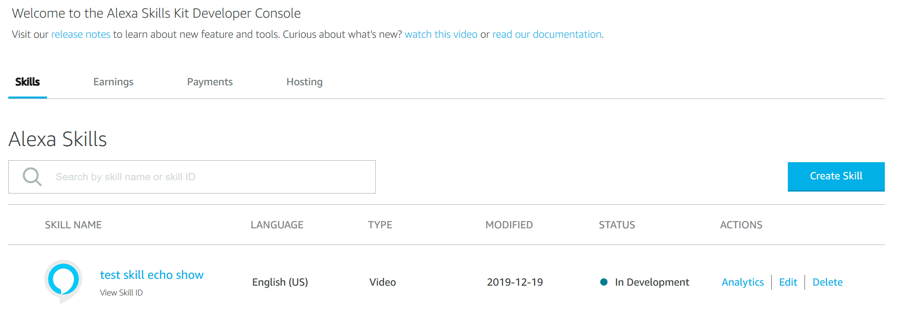 Your video skill in Alexa developer console