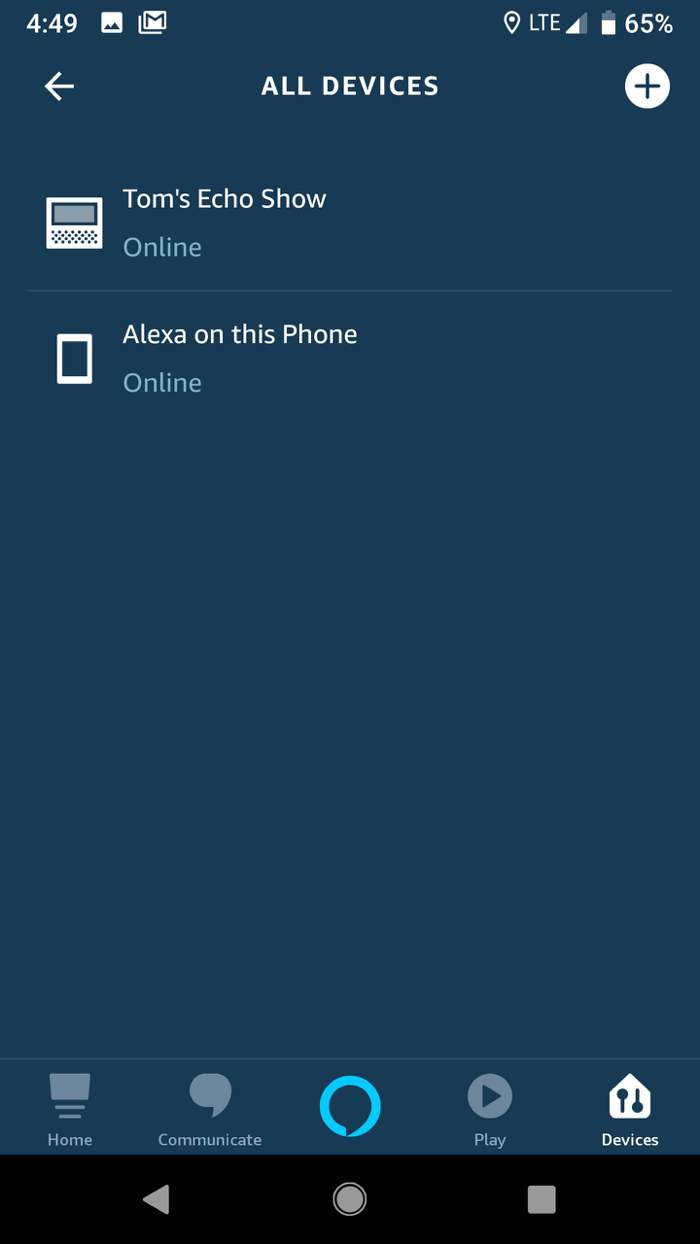 Your list of devices in the Alexa smartphone app