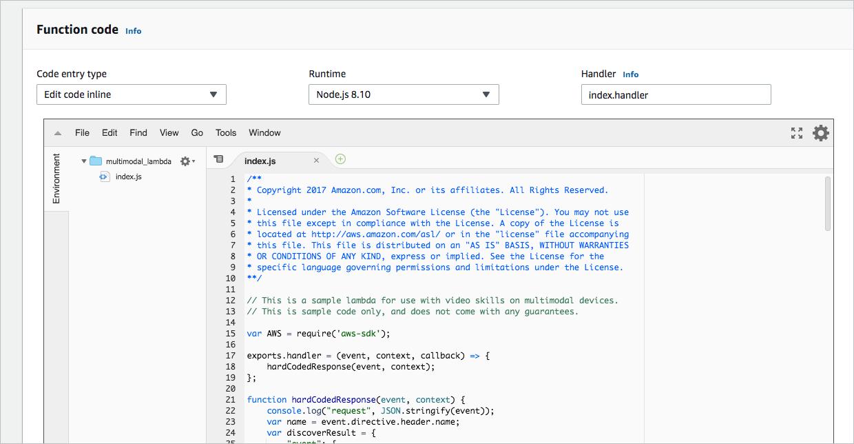 Lambda function code editor