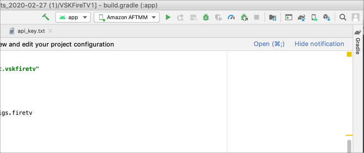 Configuration selections in Android Studio