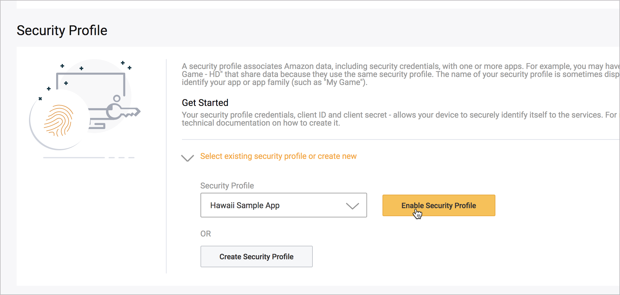 Selecting the security profile for your app