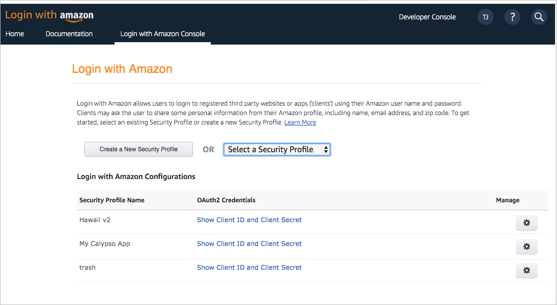 Enable Login with Amazon for your security profile