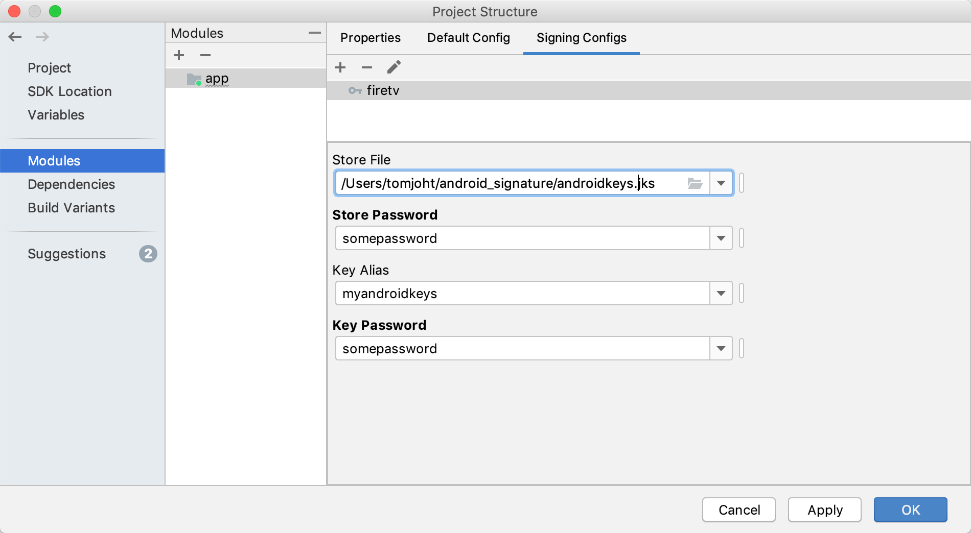 Configuring signing keys