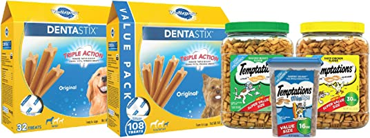Save 30% or more on Temptations cat treats and Dentastix dog treats