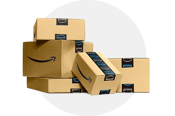 Image of stacked Amazon cardboard delivery boxes of different sizes with grey circle background