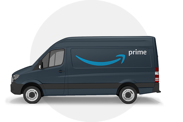 Image of dark blue Amazon delivery vehicle with grey circle background
