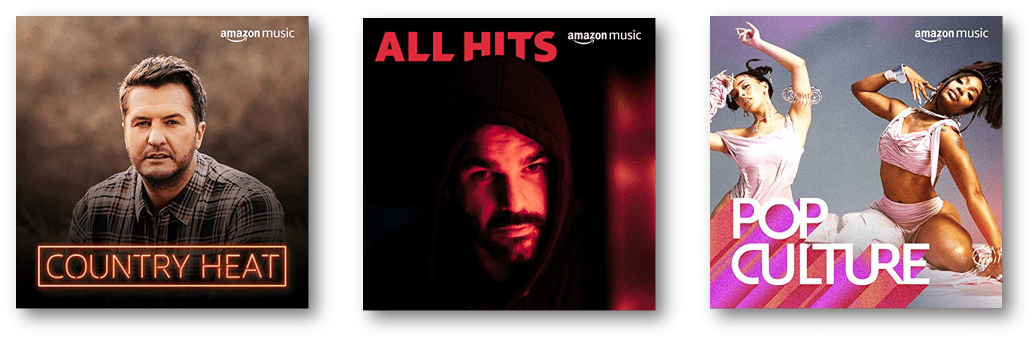 Image of several popular playlists available on Amazon Prime Music
