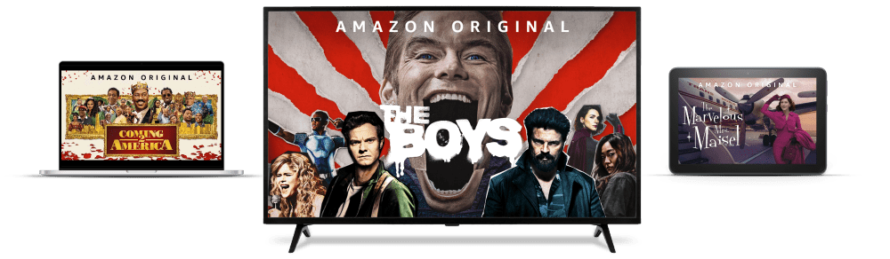 Image of a computer, TV, and tablet device with popular Amazon Original movies and TV shows displaying on-screen