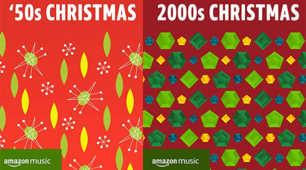 Holiday playlists by decade on Amazon Music