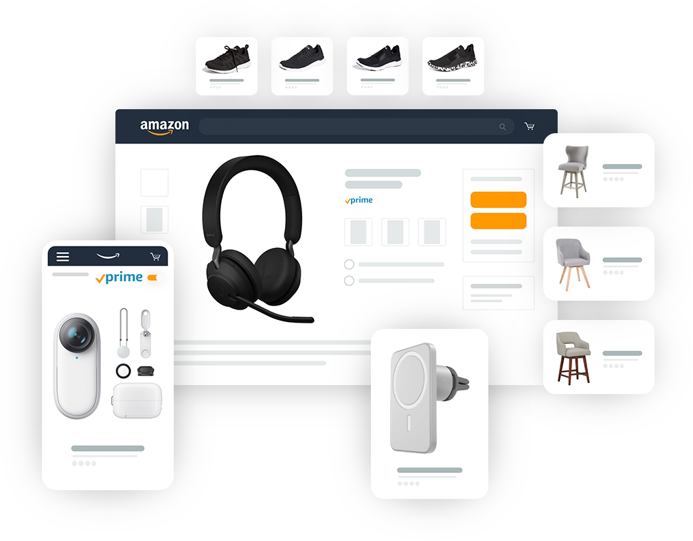 Amazon online stores with various product categories displayed