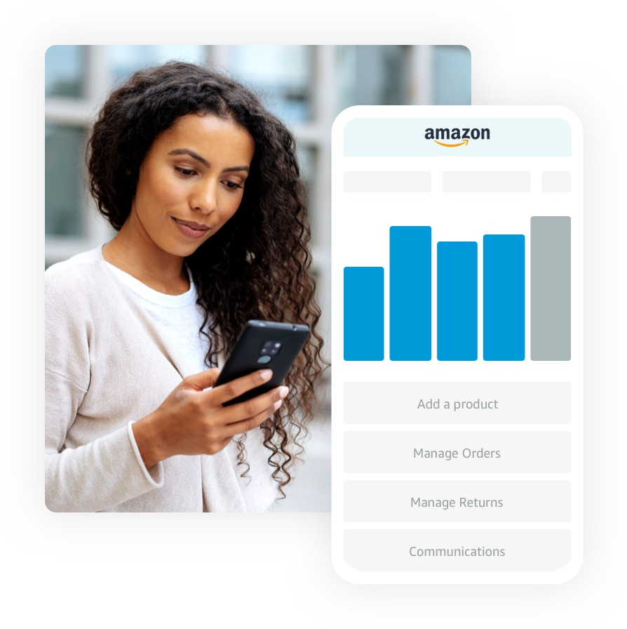 Woman in a black blazer looking at her account in the Amazon Seller mobile app
