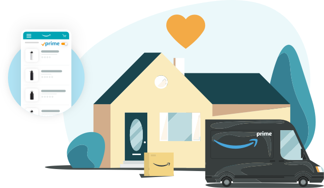 Illustration of an Amazon Prime truck delivering a package to a suburban home