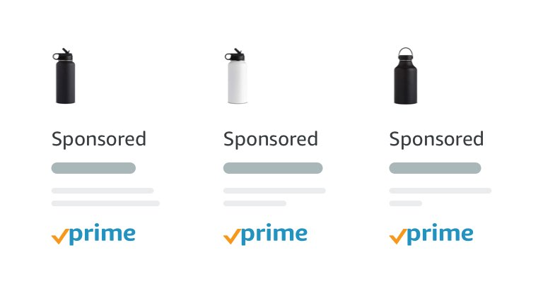 Three sponsored product listings of water bottles available with Amazon Prime shipping